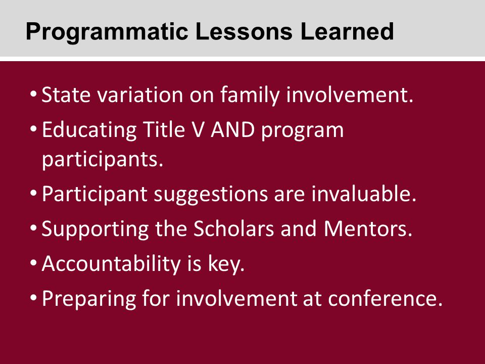 State variation on family involvement. Educating Title V AND program participants.