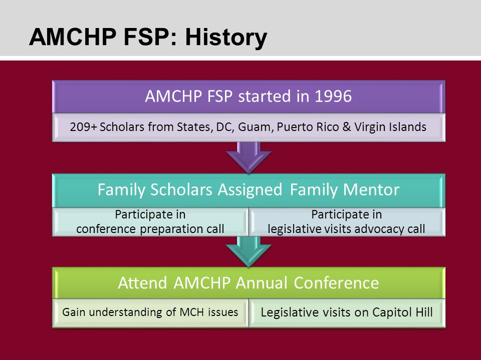 AMCHP FSP: History Attend AMCHP Annual Conference Gain understanding of MCH issues Legislative visits on Capitol Hill Family Scholars Assigned Family Mentor Participate in conference preparation call Participate in legislative visits advocacy call AMCHP FSP started in 1996 209+ Scholars from States, DC, Guam, Puerto Rico & Virgin Islands