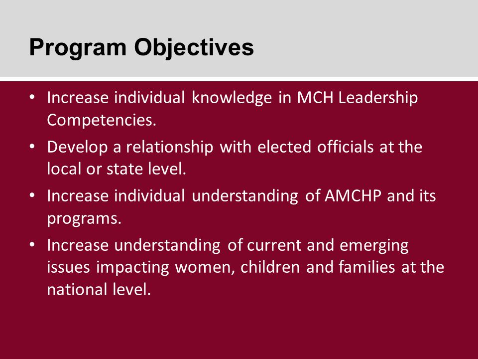 Program Objectives Increase individual knowledge in MCH Leadership Competencies.