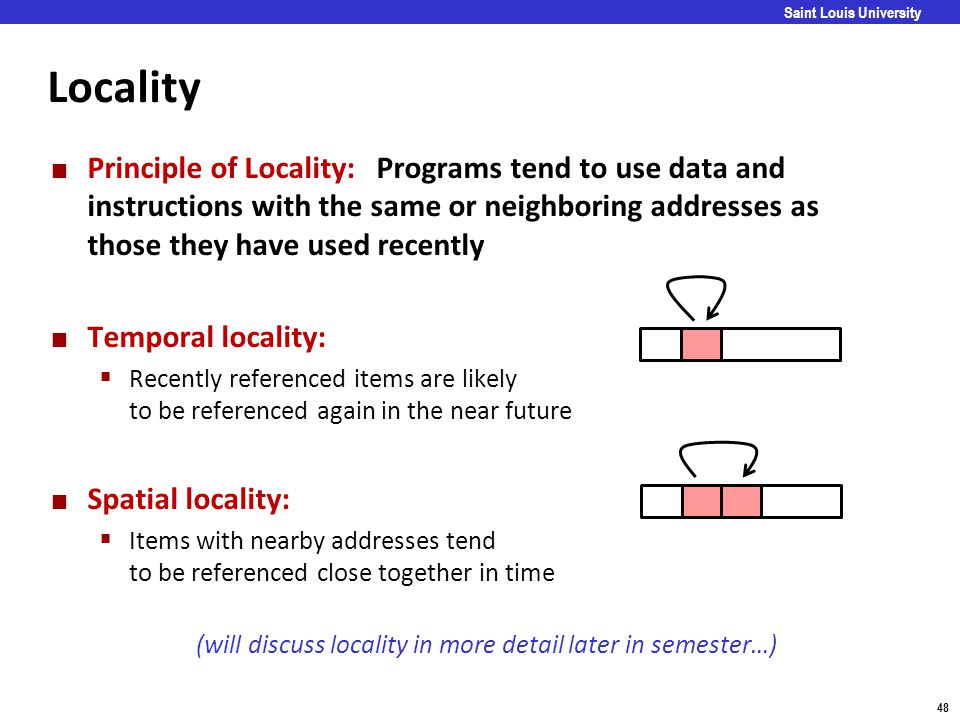 Carnegie Mellon 48 Saint Louis University Locality Principle of Locality: Programs tend to use data and instructions with the same or neighboring addr