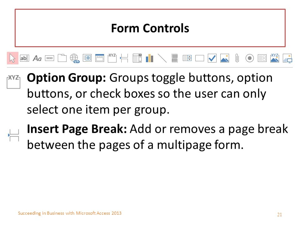 Succeeding in Business with Microsoft Access 2013 Form Controls Option Group: Groups toggle buttons, option buttons, or check boxes so the user can on
