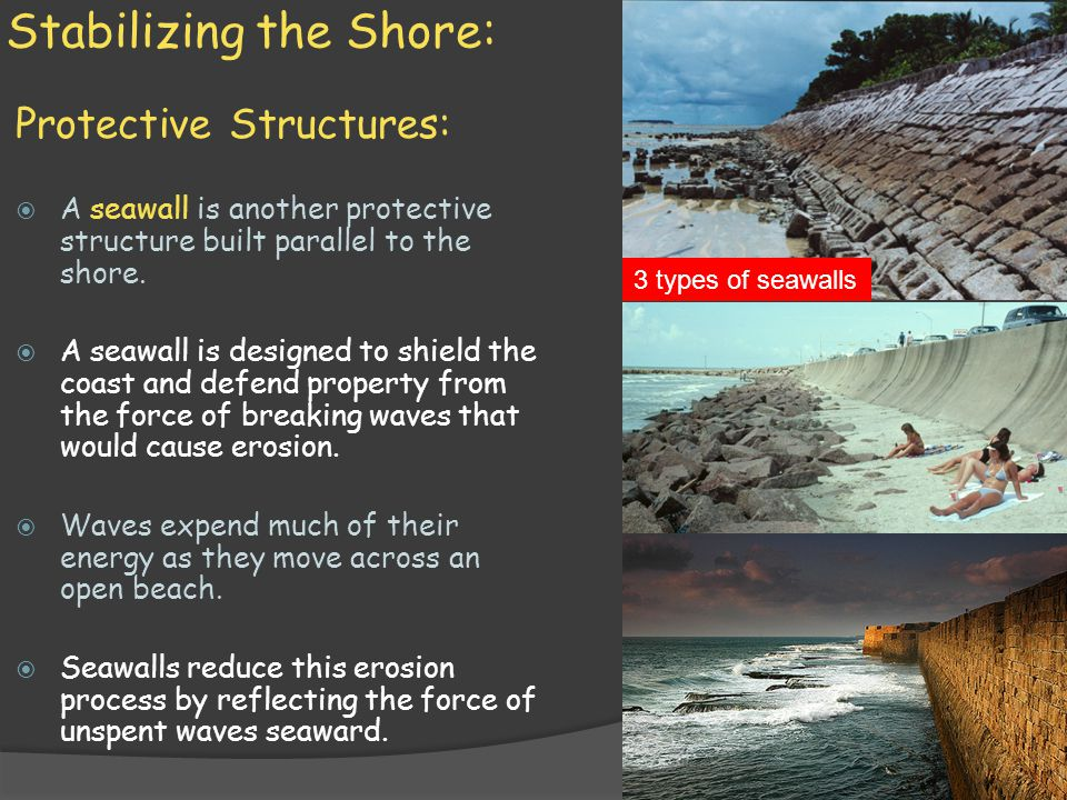 Stabilizing the Shore: Protective Structures:  A seawall is another protective structure built parallel to the shore.  A seawall is designed to shie