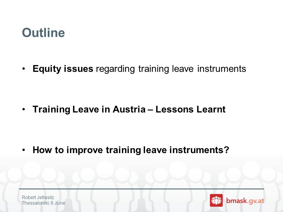 Evaluation Framework – Equity issues Do Training Leave Instruments (TLI) increase participation in Further Training (FT).