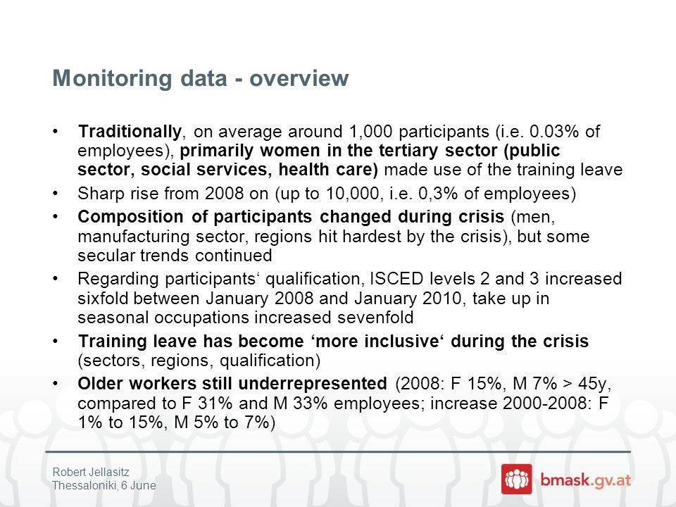 Monitoring data - overview Traditionally, on average around 1,000 participants (i.e.