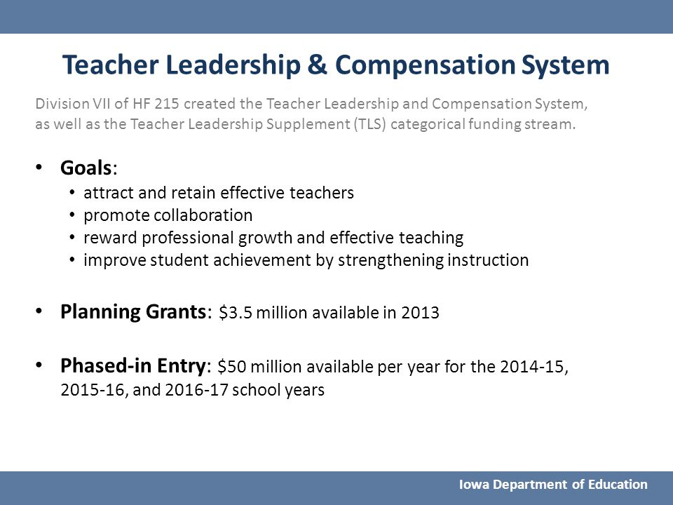 Teacher Leadership & Compensation System Division VII of HF 215 created the Teacher Leadership and Compensation System, as well as the Teacher Leaders