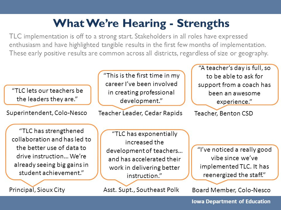 What We're Hearing - Strengths Iowa Department of Education TLC implementation is off to a strong start. Stakeholders in all roles have expressed enth
