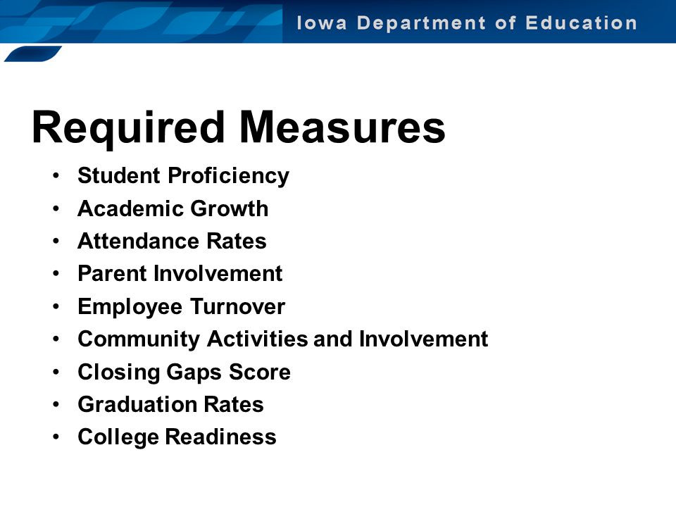 Required Measures Student Proficiency Academic Growth Attendance Rates Parent Involvement Employee Turnover Community Activities and Involvement Closi