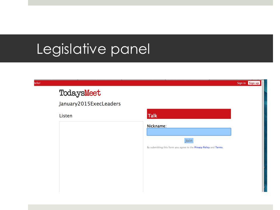 Legislative Panel  Sen.Herman Quirmbach  Sen. Amy Sinclair  Rep.