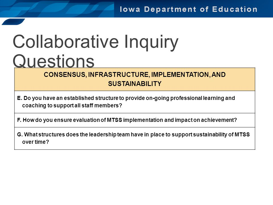 Collaborative Inquiry Questions CONSENSUS, INFRASTRUCTURE, IMPLEMENTATION, AND SUSTAINABILITY E. Do you have an established structure to provide on-go
