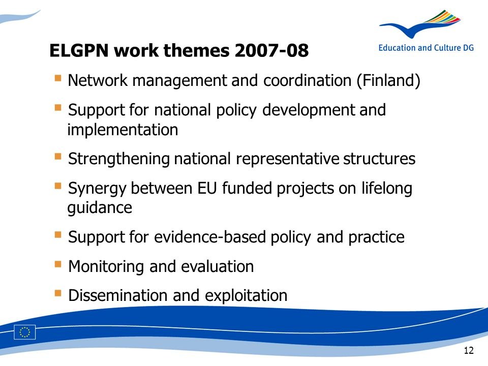 12  Network management and coordination (Finland)  Support for national policy development and implementation  Strengthening national representative structures  Synergy between EU funded projects on lifelong guidance  Support for evidence-based policy and practice  Monitoring and evaluation  Dissemination and exploitation ELGPN work themes 2007-08