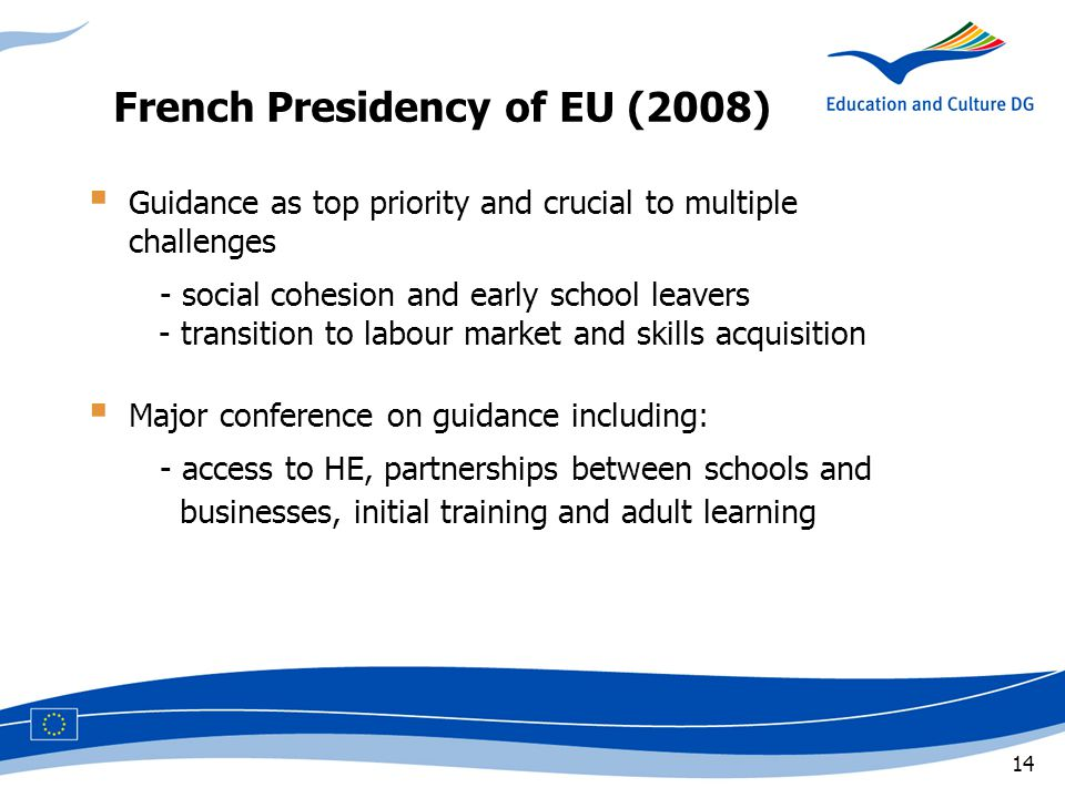 14  Guidance as top priority and crucial to multiple challenges - social cohesion and early school leavers - transition to labour market and skills acquisition  Major conference on guidance including: - access to HE, partnerships between schools and businesses, initial training and adult learning French Presidency of EU (2008)