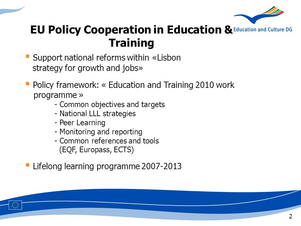3 LLL Communication 2001 LLG Council Resolution 2004 LLG expert group 2002-06 Projects bringing together guidance systems in 12 countries,,,,2004-06 Career guidance handbook 2004 Finnish conference Nov 2006 European Lifelong Guidance Policy Network (ELGPN) May,,,2007 French conference 2008 EU Policy Development LLL + LLG