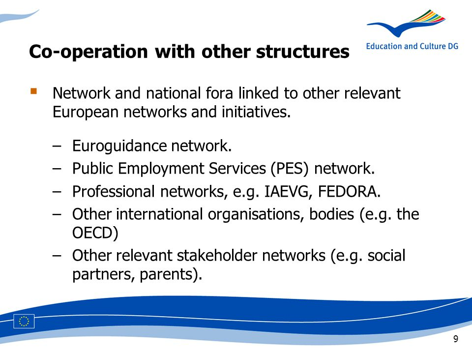 9 Co-operation with other structures  Network and national fora linked to other relevant European networks and initiatives.