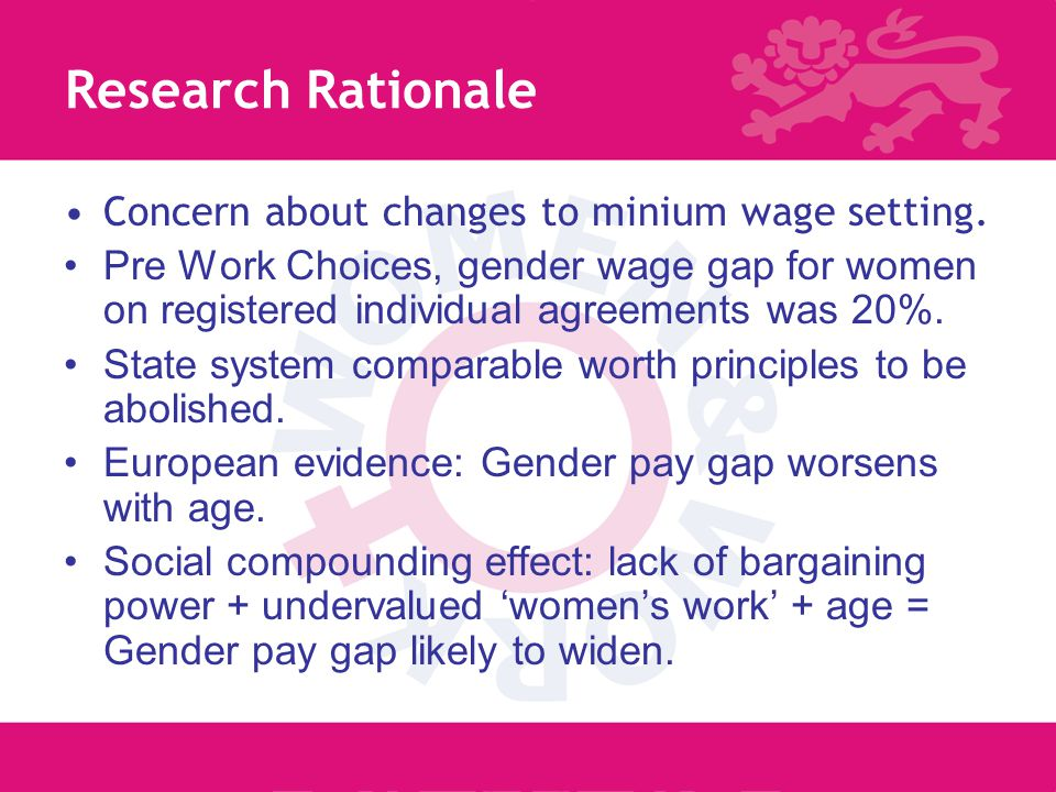 2 Research Rationale Concern about changes to minium wage setting.