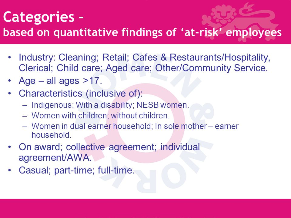 5 Categories – based on quantitative findings of 'at-risk' employees Industry: Cleaning; Retail; Cafes & Restaurants/Hospitality, Clerical; Child care; Aged care; Other/Community Service.