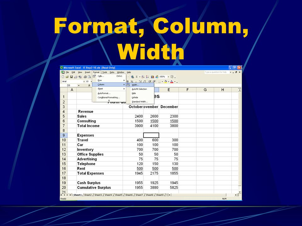 Format, Column, Width