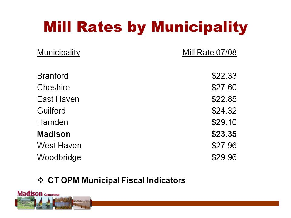 Mill Rates by Municipality MunicipalityMill Rate 07/08 Branford$22.33 Cheshire$27.60 East Haven$22.85 Guilford$24.32 Hamden$29.10 Madison$23.35 West Haven$27.96 Woodbridge$29.96  CT OPM Municipal Fiscal Indicators