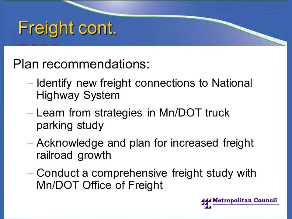 Freight cont.