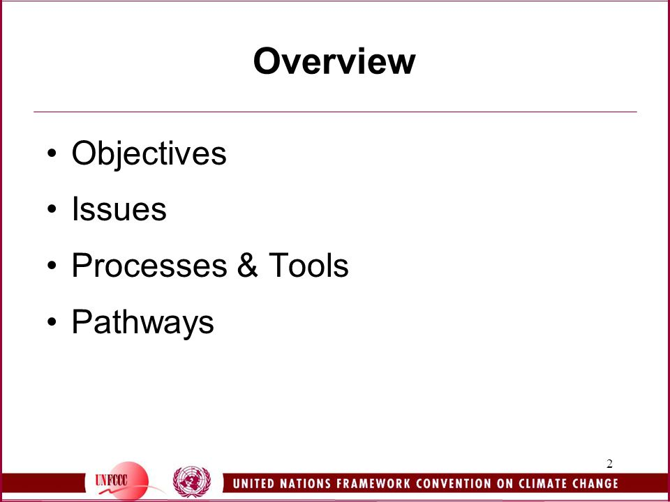 2 Overview Objectives Issues Processes & Tools Pathways
