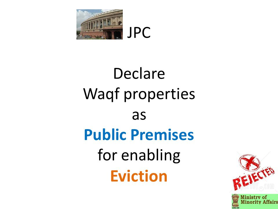 JPC Declare Waqf properties as Public Premises for enabling Eviction
