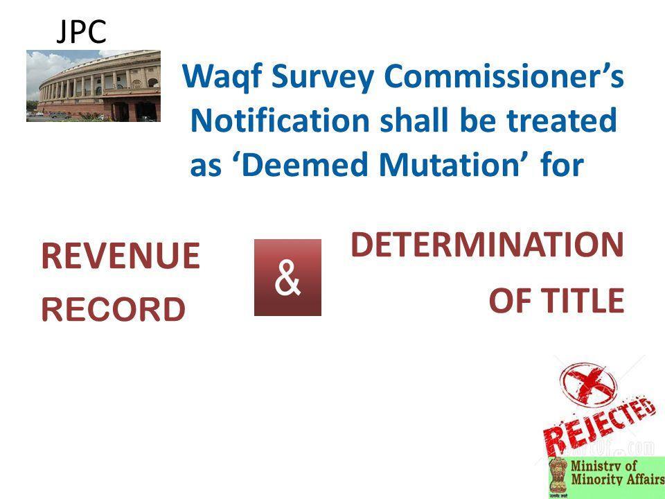 JPC Declare Waqf properties as Public Premises for enabling Eviction