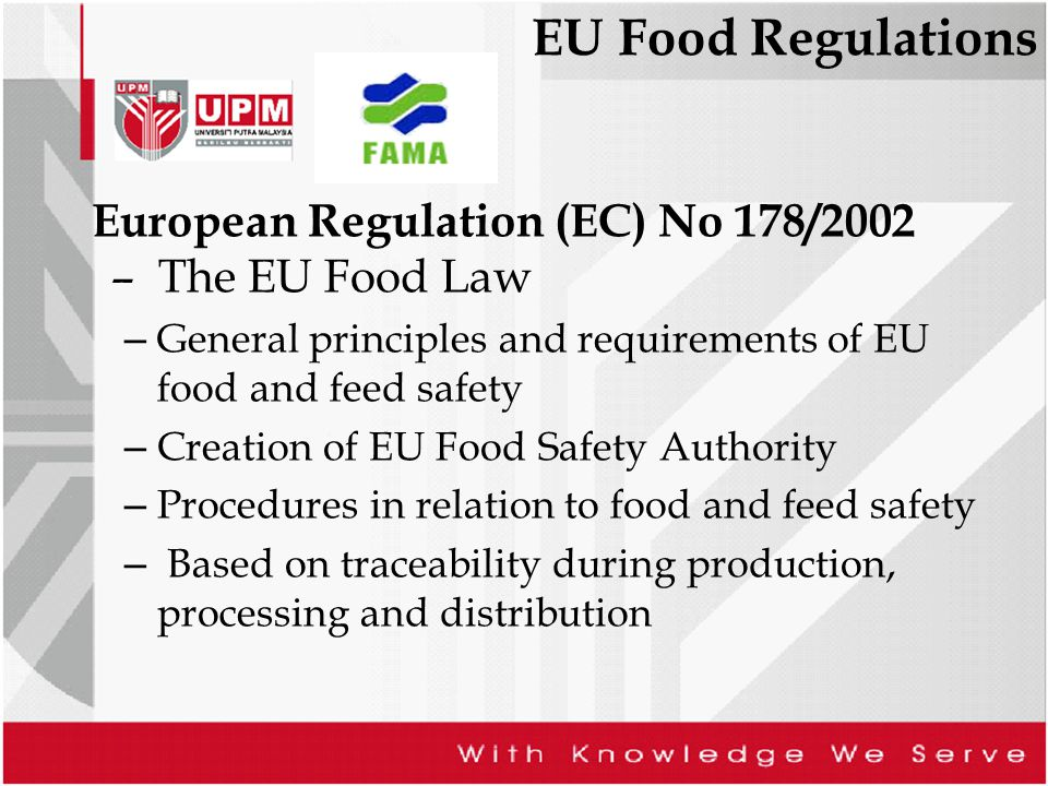 EU Food Regulations European Regulation (EC) No 178/2002 – The EU Food Law – General principles and requirements of EU food and feed safety – Creation
