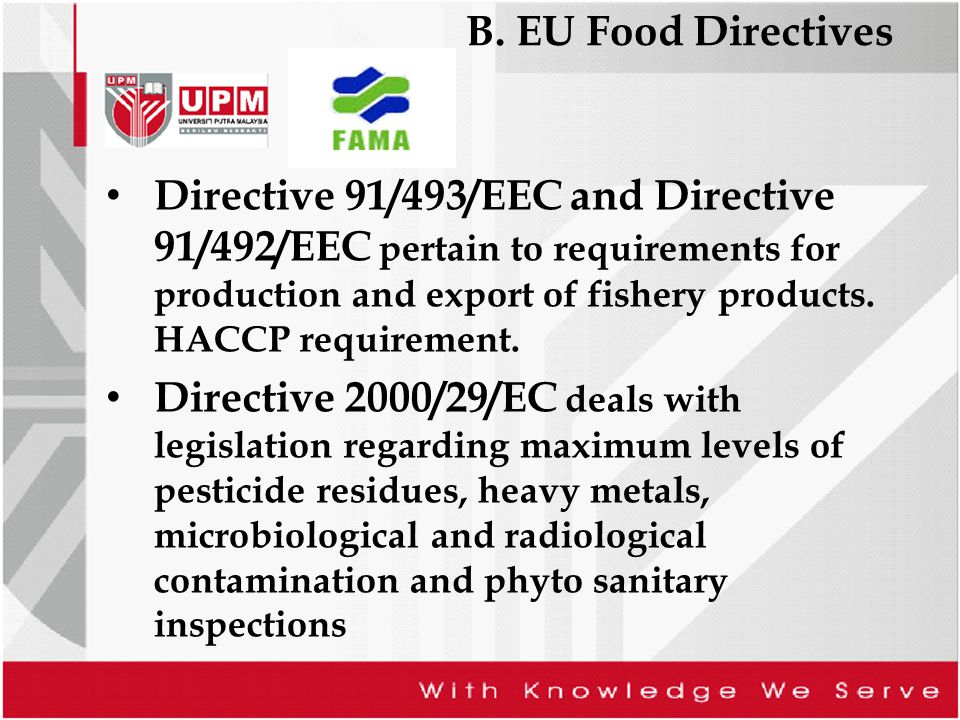 B. EU Food Directives Directive 91/493/EEC and Directive 91/492/EEC pertain to requirements for production and export of fishery products. HACCP requi