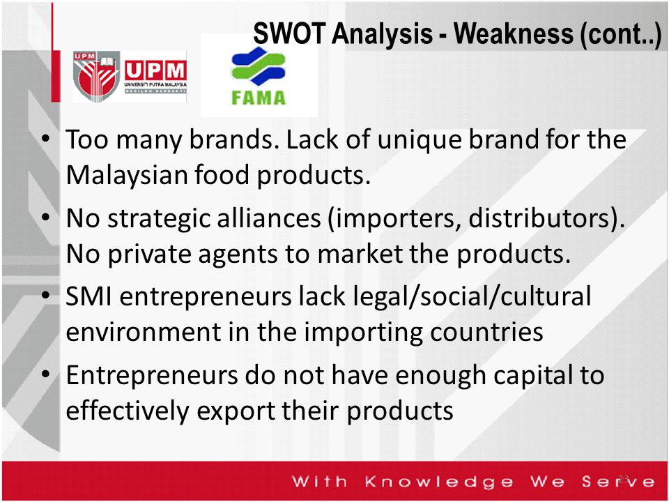 SWOT Analysis - Weakness (cont..) Too many brands. Lack of unique brand for the Malaysian food products. No strategic alliances (importers, distributo