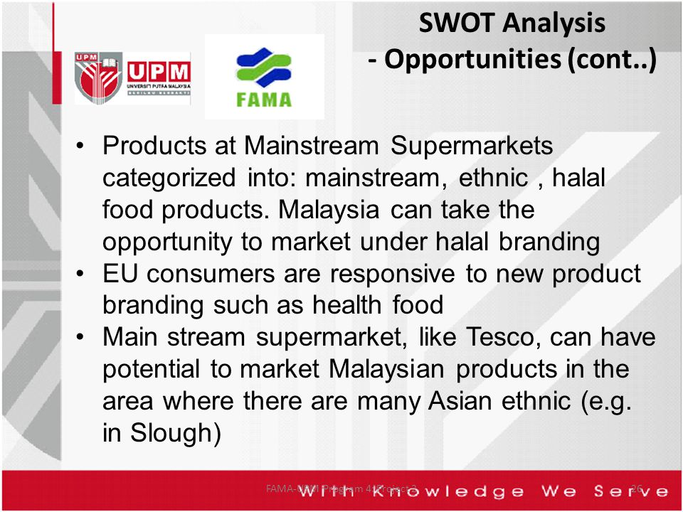 FAMA-UPM Program 4: Project 226 Products at Mainstream Supermarkets categorized into: mainstream, ethnic, halal food products.