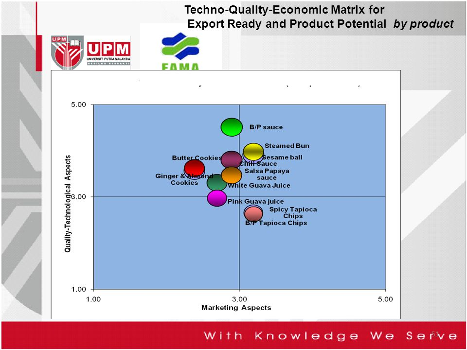 51 Techno-Quality-Economic Matrix for Export Ready and Product Potential by product