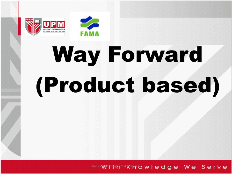 (Product based) FAMA-UPM Program 4: Project 261