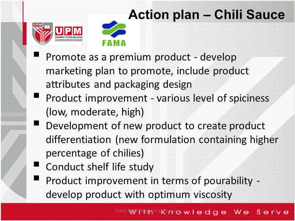 FAMA-UPM Program 4: Project 265  Promote as a premium product - develop marketing plan to promote, include product attributes and packaging design  Product improvement - various level of spiciness (low, moderate, high)  Development of new product to create product differentiation (new formulation containing higher percentage of chilies)  Conduct shelf life study  Product improvement in terms of pourability - develop product with optimum viscosity Action plan – Chili Sauce