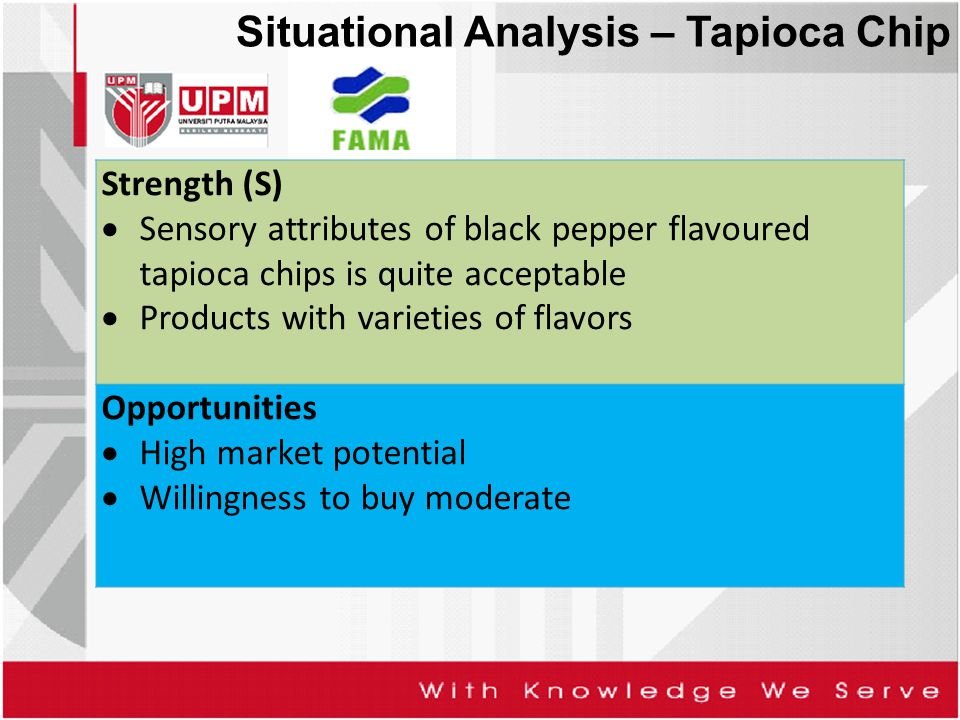 Strength (S)  Sensory attributes of black pepper flavoured tapioca chips is quite acceptable  Products with varieties of flavors Opportunities  Hig