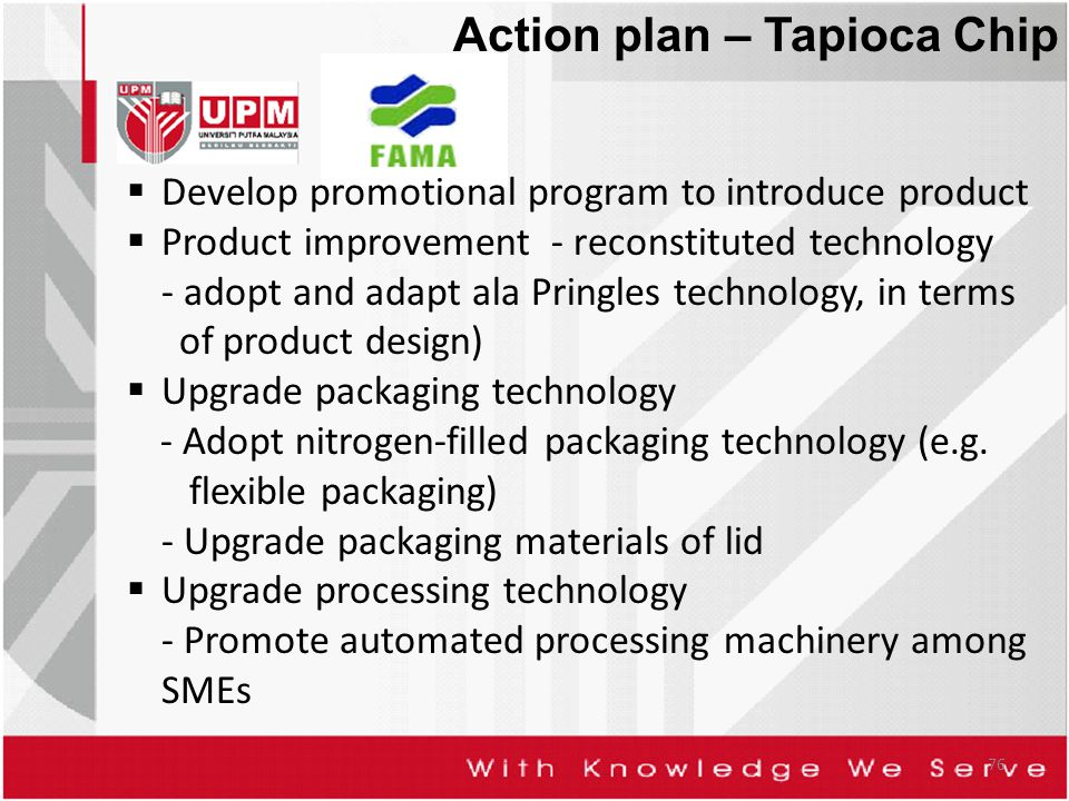 76 Action plan – Tapioca Chip  Develop promotional program to introduce product  Product improvement - reconstituted technology - adopt and adapt ala Pringles technology, in terms of product design)  Upgrade packaging technology - Adopt nitrogen-filled packaging technology (e.g.