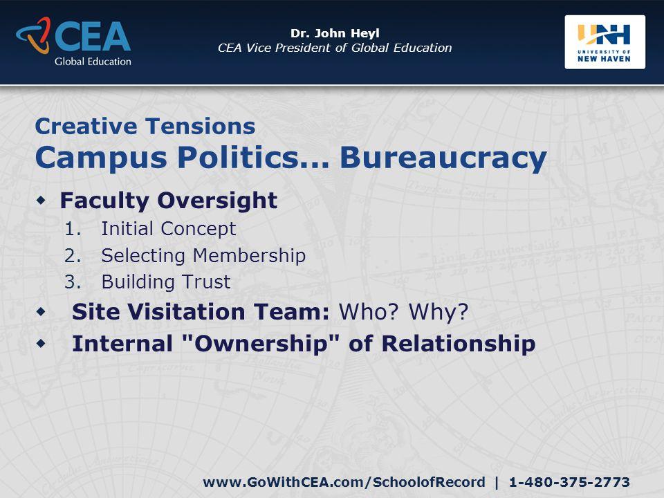 www.GoWithCEA.com/SchoolofRecord   1-480-375-2773 Dr. John Heyl CEA Vice President of Global Education Creative Tensions Campus Politics... Bureaucrac