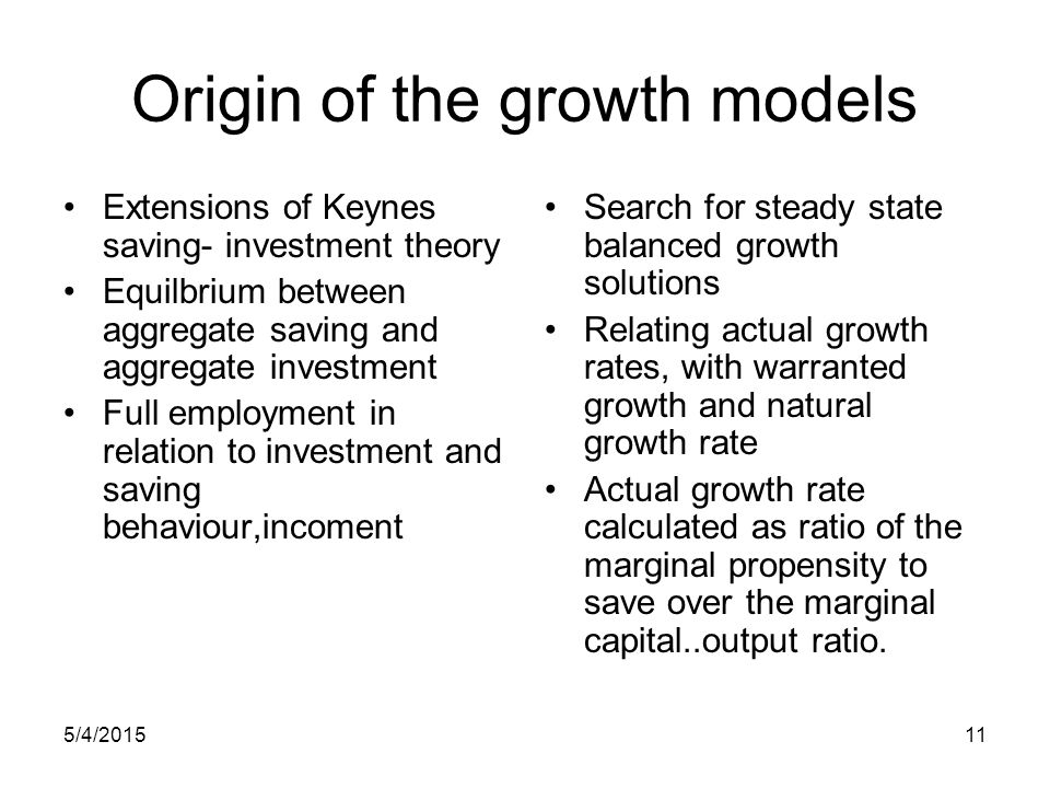 5/4/201511 Origin of the growth models Extensions of Keynes saving- investment theory Equilbrium between aggregate saving and aggregate investment Ful