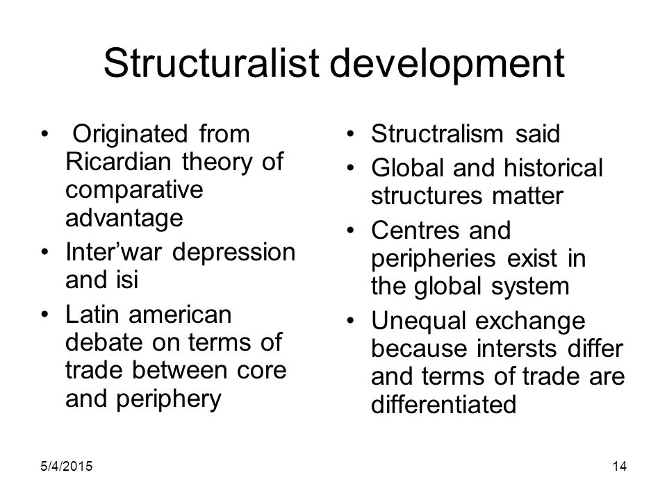 5/4/201514 Structuralist development Originated from Ricardian theory of comparative advantage Inter'war depression and isi Latin american debate on t
