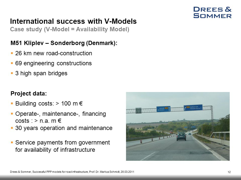 Drees & Sommer, Successful PPP models for road infrastructure, Prof.