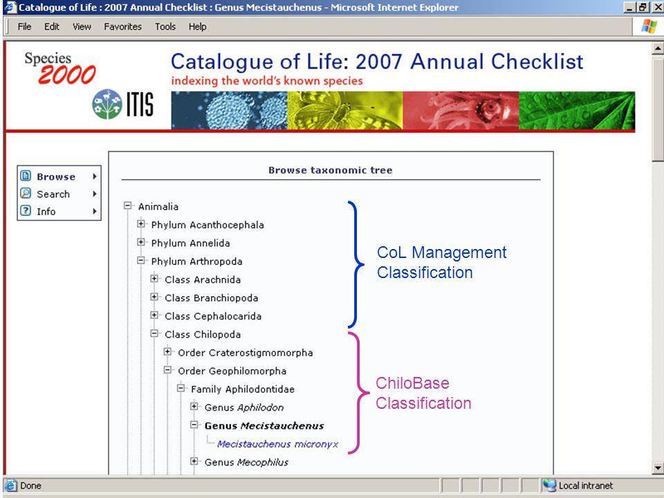 CoL Management Classification ChiloBase Classification