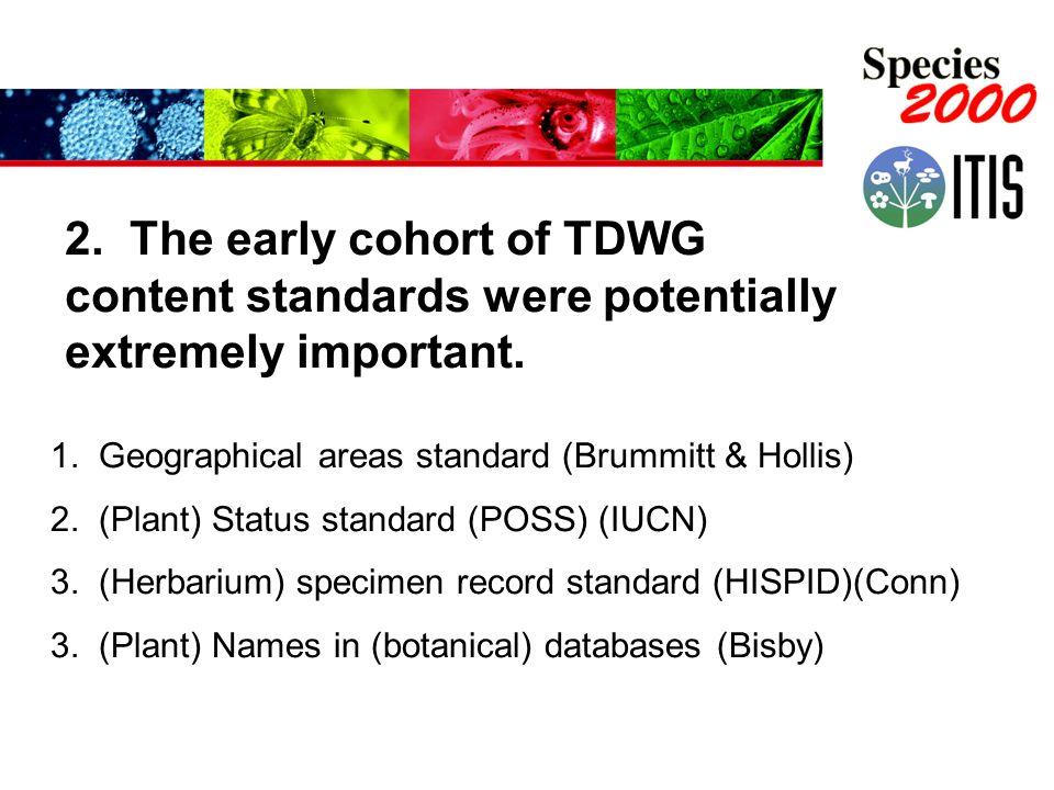 1. Geographical areas standard (Brummitt & Hollis) 2. (Plant) Status standard (POSS) (IUCN) 3. (Herbarium) specimen record standard (HISPID)(Conn) 3.