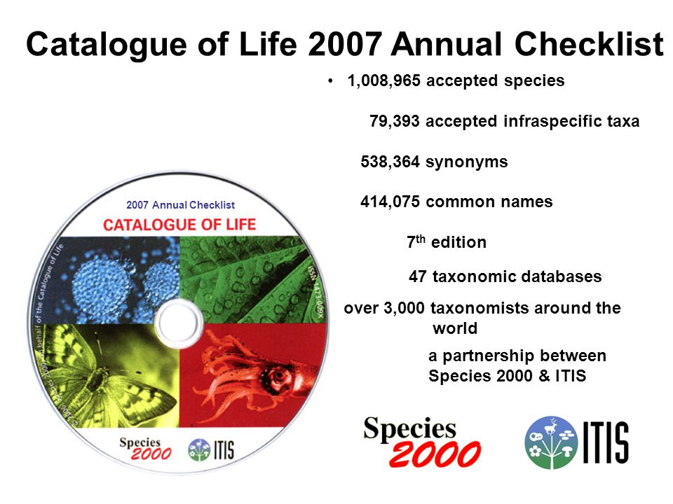 Catalogue of Life 2007 Annual Checklist 2007 Annual Checklist 1,008,965 accepted species 79,393 accepted infraspecific taxa 538,364 synonyms 414,075 common names 7 th edition 47 taxonomic databases over 3,000 taxonomists around the world a partnership between Species 2000 & ITIS