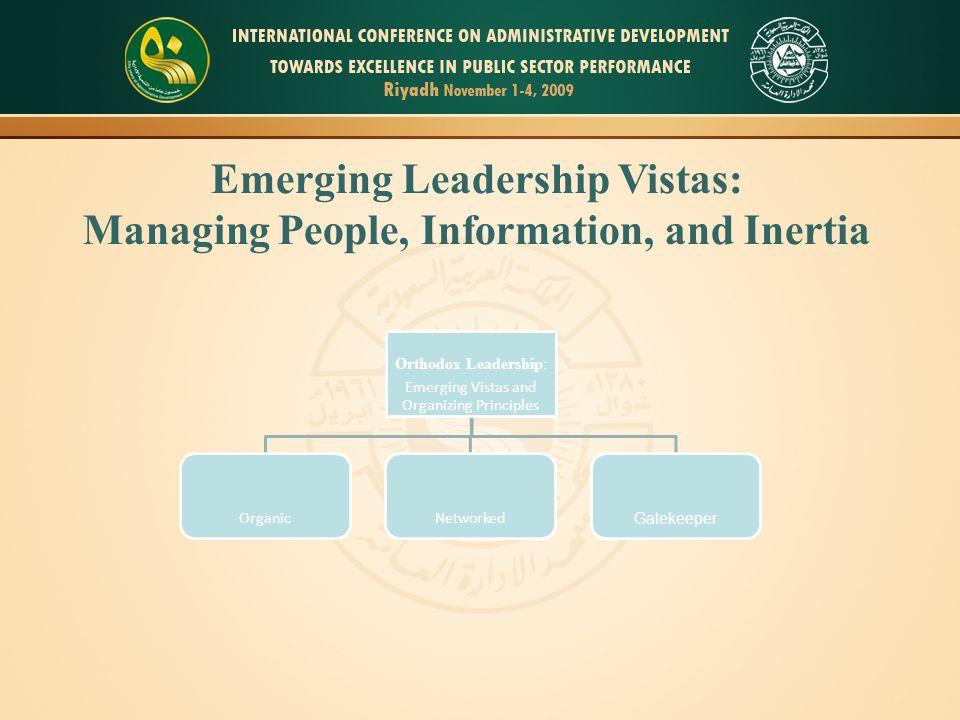 Emerging Leadership Vistas: Managing People, Information, and Inertia Orthodox Leadership: Emerging Vistas and Organizing Principles OrganicNetworked Gatekeeper