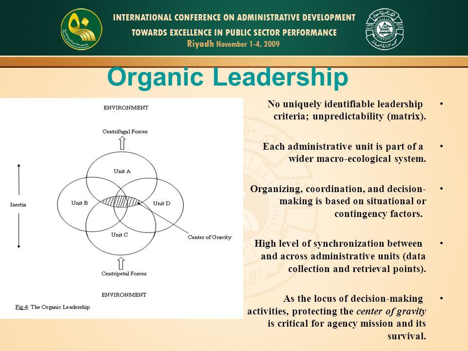 No uniquely identifiable leadership criteria; unpredictability (matrix). Each administrative unit is part of a wider macro-ecological system. Organizi
