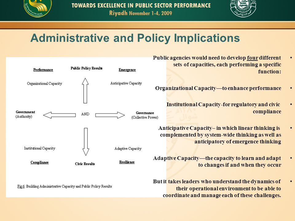 Administrative and Policy Implications Public agencies would need to develop four different sets of capacities, each performing a specific function: Organizational Capacity—to enhance performance Institutional Capacity-for regulatory and civic compliance Anticipative Capacity– in which linear thinking is complemented by system-wide thinking as well as anticipatory of emergence thinking Adaptive Capacity—the capacity to learn and adapt to changes if and when they occur But it takes leaders who understand the dynamics of their operational environment to be able to coordinate and manage each of these challenges.