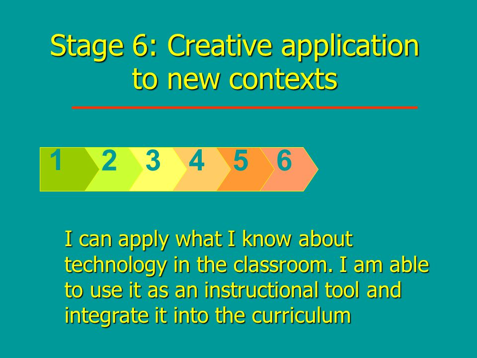 Stage 6: Creative application to new contexts 65432 1 I can apply what I know about technology in the classroom.