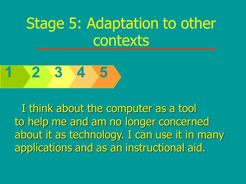 Stage 5: Adaptation to other contexts 5432 1 I think about the computer as a tool I think about the computer as a tool to help me and am no longer concerned about it as technology.
