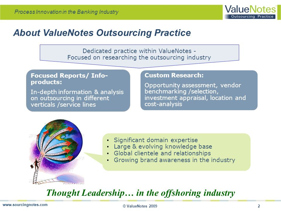 Process Innovation in the Banking Industry © ValueNotes 2009 3 ValueNotes Publications Industry/ Vertical Reports Banking and Financial Services Insurance Engineering Design Pharmaceutical Healthcare Banking and Financial Services Insurance Engineering Design Pharmaceutical Healthcare Reports on Niche Segments Legal Services Publishing Bio-informatics Tax Returns Preparation Market Research Patent Services Legal Services Publishing Bio-informatics Tax Returns Preparation Market Research Patent Services Databases / Profiles DealTracker: (Contract, M&A, VC/PE deals) In-depth Company Profiles DealTracker: (Contract, M&A, VC/PE deals) In-depth Company Profiles Upcoming Reports KPO Country Reports Company Profiles Business and Financial Research KPO Country Reports Company Profiles Business and Financial Research www.sourcingnotes.com