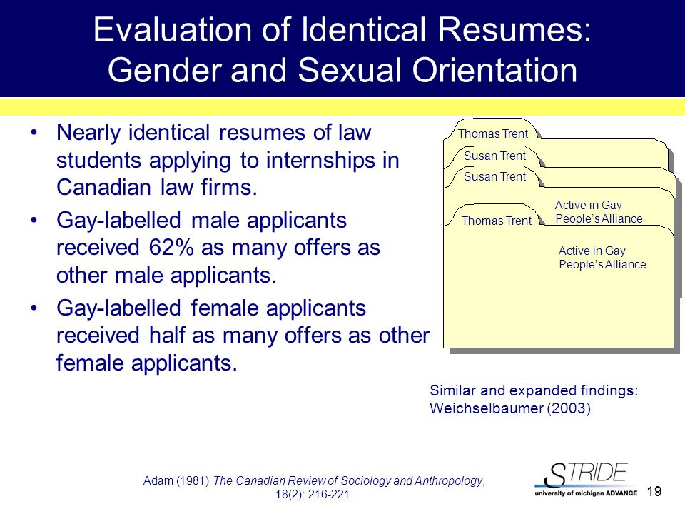 19 Evaluation of Identical Resumes: Gender and Sexual Orientation Nearly identical resumes of law students applying to internships in Canadian law firms.
