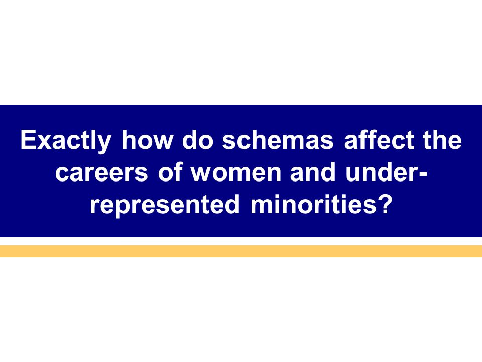 Exactly how do schemas affect the careers of women and under- represented minorities