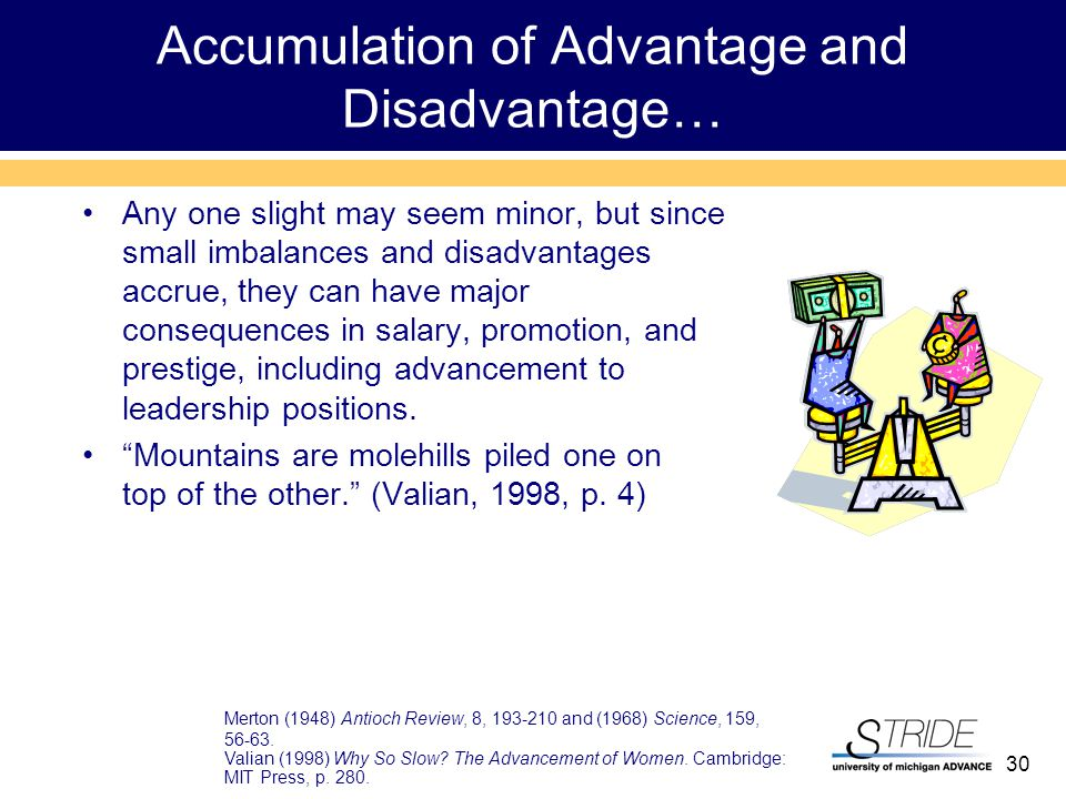 30 Accumulation of Advantage and Disadvantage… Any one slight may seem minor, but since small imbalances and disadvantages accrue, they can have major consequences in salary, promotion, and prestige, including advancement to leadership positions.